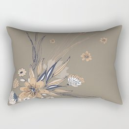 Taupe Line Art Flowers Rectangular Pillow
