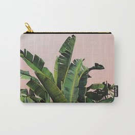Tropical Palm leaves on pink Carry-All Pouch