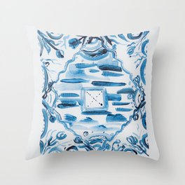 Azulejos Portugal, hand painted ceramic tiles Throw Pillow