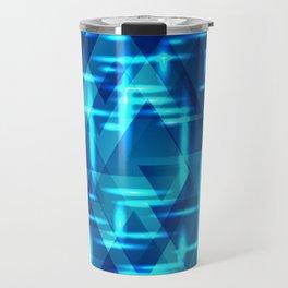 Blue crossings on metal sea background. Travel Mug