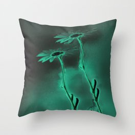 two green daisies Throw Pillow