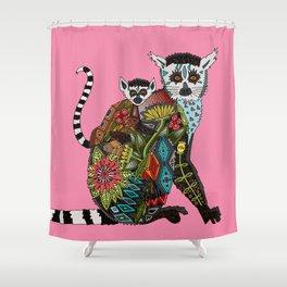 ring tailed lemur love pink Shower Curtain