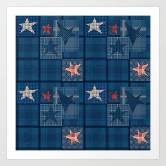 Blue denim patchwork . Art Print