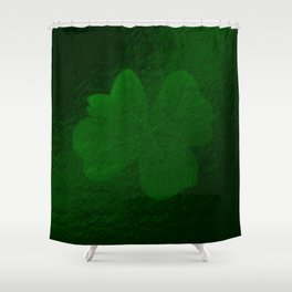 with a small brush shiny green shamrock Shower Curtain