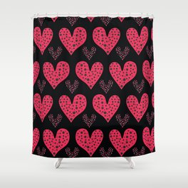 Red brush stroke dotty love hearts with 1950s style polka dots Shower Curtain