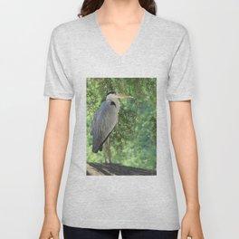Grey heron (Ardea Cinerea) amongst trees Unisex V-Neck