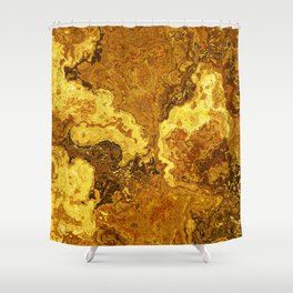 Vibrant Marble Texture no1 - Amber Yellow Shower Curtain