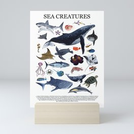 SEA CREATURES poster with names Mini Art Print