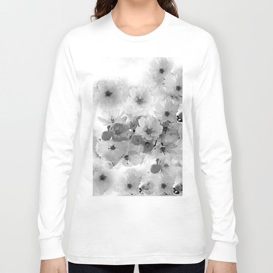 CHERRY BLOSSOMS IN BLACK AND WHITE Long Sleeve T-shirt