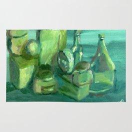 Still Life Study in Green Rug