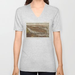 Aerial View of New York and Brooklyn (1875) Unisex V-Neck