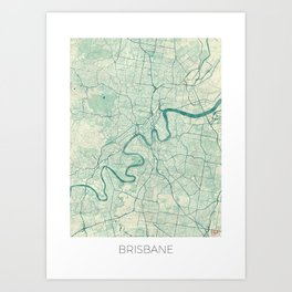 Brisbane Map Blue Vintage Art Print