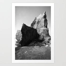 Boulder Beach Geology Rocks Washington Pacific Ocean Shore Coastal Nautical Abstract Black White Art Print