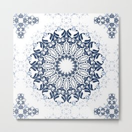 Blue ornament on a white background. Metal Print