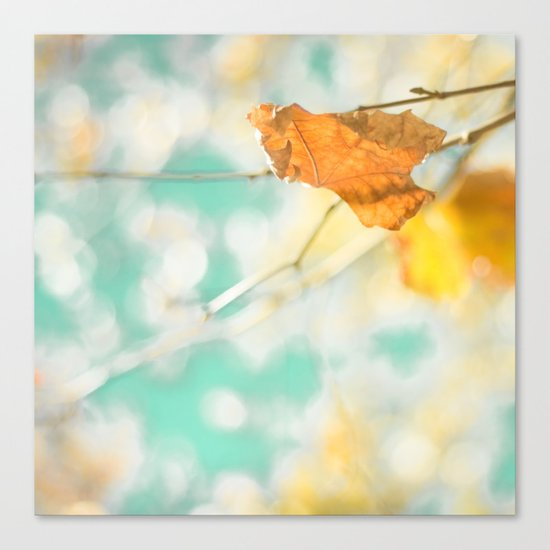 Gold Autumn Fall Leafs on Dreamy Blue Turquoise Vintage Retro Sky  Canvas Print