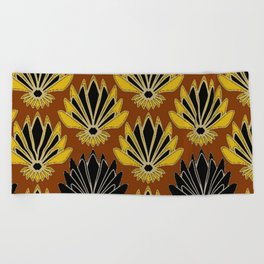 ART DECO YELLOW BLACK COFFEE BROWN AGAVE ABSTRACT Beach Towel