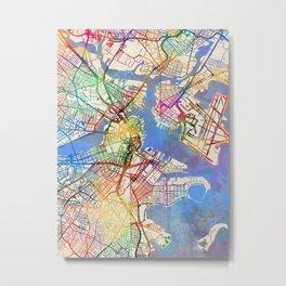 Boston Massachusetts Street Map Metal Print