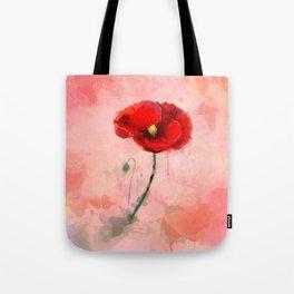 Red Poppy watercolor digital painting Tote Bag