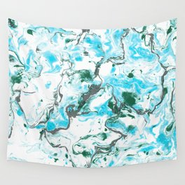 White and blue Marble texture acrylic Liquid paint art Wall Tapestry