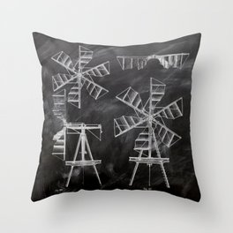 steampunk western country chalkboard art agriculture farm windmill patent print Throw Pillow
