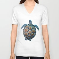 sea turtle V-neck T-shirts featuring Turtle by Elise Cayouette