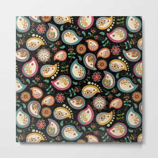 Hedgehog Paisley_Party Colors Metal Print