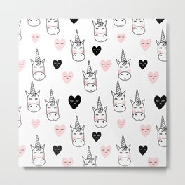 Unicorn pattern with hearts Metal Print