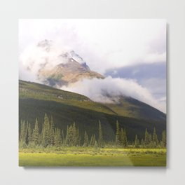 Rocky Mountains Shrouded in Breathtaking Clouds With Meadow Metal Print