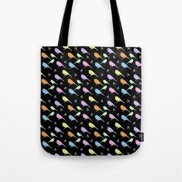 Pastel Shrike-thrushes on Black Tote Bag