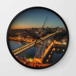 Porto twylight bridge Wall Clock