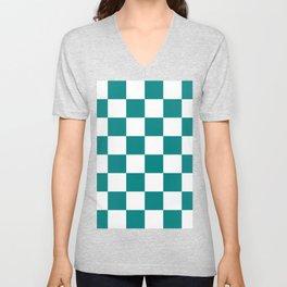 Large Checkered - White and Dark Cyan Unisex V-Neck