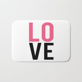 LOVE Block Quote Pink and Black Bath Mat