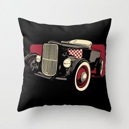 Old School Rat Rod Car Throw Pillow
