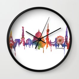 Rainbow Watercolour Monuments Wall Clock