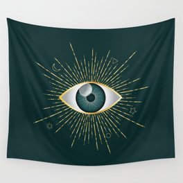 Gold and Teal Green Evil Eye on Dark Teal Background Wall Tapestry