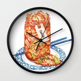Kimchi watercolour food illustration Wall Clock