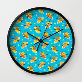 Cats and Dogs in Canoes Wall Clock