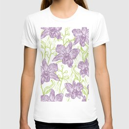 Orchid flowers. Hand drawn on white background olive Green pink purple contour sketch T-shirt
