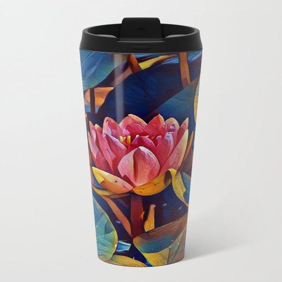 Painted Waterlily Metal Travel Mug