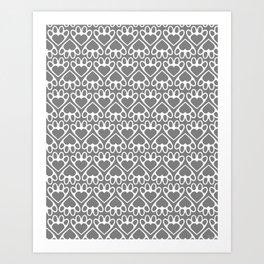Paw Prints on my Heart - in Grey Art Print