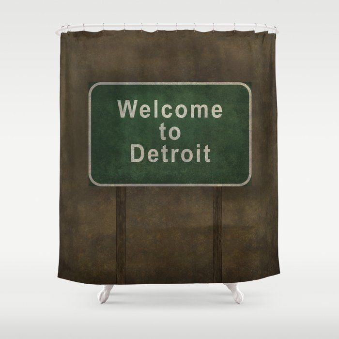 Welcome to Detroit highway road side sign Shower Curtain