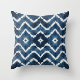 Shibori, tie dye, chevron print Throw Pillow