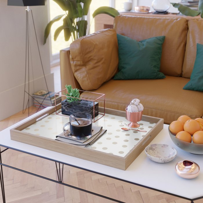 Simply Dots in White Gold Sands Serving Tray