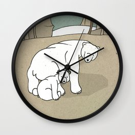 Polar Bear Mother and Son Wall Clock