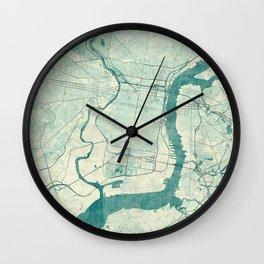 Philadelphia Map Blue Vintage Wall Clock