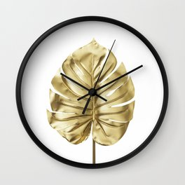 Gold monstera minimal Wall Clock