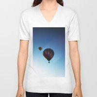 hot air balloons V-neck T-shirts featuring Rainbow Hot Air Balloons by Rachel Butler