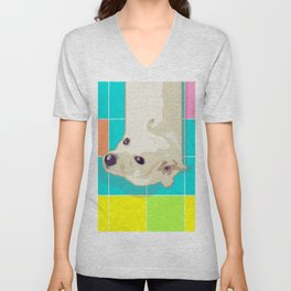 White Puppy on Geometric Floor Unisex V-Neck