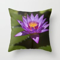 lotus Throw Pillows featuring Lotus by Maria Heyens