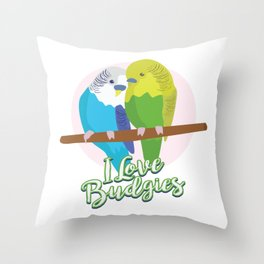 Funny Budgerigar Budgie Pet Bird Lover Nerdy Gift Throw Pillow